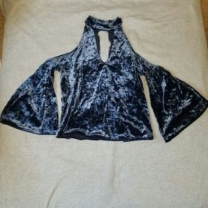 NWOT AE Blue Velvet Top